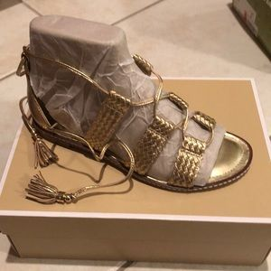Michael Kors gold Monterey gladiator sandals